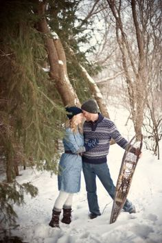 A Cozy Winter Engagement Shoot - The Sweetest Occasion - snow shoes. they just look so cozy. such a great way to show off our minnesotan-ness.