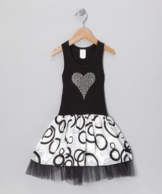 Take a look at this White & Black Rhinestone Heart Dress - Toddler & Girls  by Style Steals: Girls' Apparel on #zulily today!