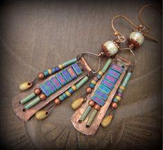 Copper Slab Tila GlassCharm Beaded Earrings by YuccaBloom on Etsy, $46.00