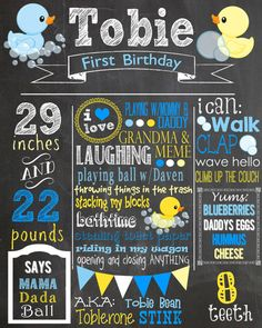 Custom First Birthday Colored Chalkboard Poster/ Invitation - Birthday Sign - Rubber Ducky - Duck - Bath Time - Blue and Yellow - Neutral