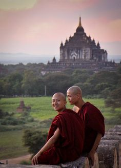 Two young Budhist monks at sunset in Bagan.  (Bagan, Myanmar, 2011)  http://andreinicoara.com/tag/myanmar/