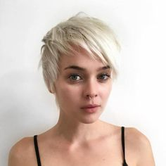 Long Blonde Pixie With Bangs
