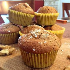 It's Sweet Sunday! Today's recipe is for gorgeously crunchy Banana Walnut Muffins. Check it out on: http://basilandoil.com/2014/06/21/sweet-sunday-banana-walnut-muffins/