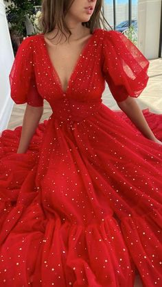 Elegant Dresses, Pretty Dresses, Beautiful Dresses, Red Formal Dresses, Red Ball Dresses, A Line Dress Formal, Fancy Prom Dresses, Sequin Prom Dresses, Tulle Prom Dress