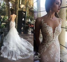 2016 Berta Lace Wedding Dresses Sheer Backless Pearls Applique Illusion Neck Vintage Spring Bridal Wedding Gowns with Detachable Train J1217