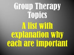 Group Therapy Topics: Mental Health Educational Activities Use this list of mental health group topics to help you plan groups or create a complete program. Specific subtopics are included for each category of group topic. Group Therapy Activities, Mental Health Activities, Mental Health Therapy, Mental Health Counseling, Counseling Psychology, Group Counseling, Counseling Activities, Educational Activities, Health Education