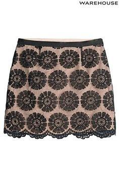 Warehouse Black And Nude Organza Skirt at Next