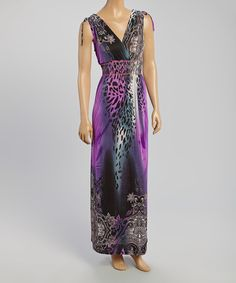 This Sunny Purple & Black Leopard Maxi Dress by Sunny is perfect! #zulilyfinds