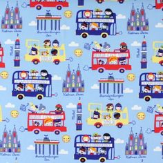 Tourist Jersey Knit; a beautiful, soft jersey with double decker buses and German landmarks