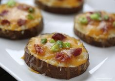 Amazing Apps Easy potato skins recipe via . These potato rounds are topped with cheddar cheese, crumbled bacon bits and taste great topped with a little sour cream! Easy Potato Skins Recipe, Potato Recipes, Great Recipes, Favorite Recipes, Easy Recipes, Recipe Ideas, Potato Dishes, Appetizer Recipes, Recipes Dinner