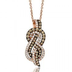 LeVian 0.46 Carat Chocolate & Vanilla Diamond Infinity Twist Pendant in 14K Rose Gold . Available at www.Brandinia.com