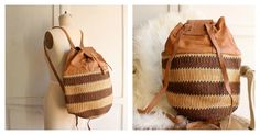 This backpack is a great way to show your fashion sense and your African heritage.....A lifetime bag!!!♥       :: made of Real Leather & Sisal     :: adjustable strap     :: large and roomy     :: high quality     :::: a real piece of art     www.imaara.com. $67 EUR. -CAB