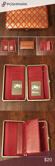 "11. Red/Gold Hananel Wallet Perfect wallet for the gal on the go!  Colorful, compact and convenient.   Measurements are 7.5"" length x 1"" width x 4.5"" height.   Sturdy metal frame with easy-open clasp. Multi-function interior accommodates ID photo window, credit card slots, cash, checkbook holder!    Product Features: Sleek, unique & chic wallet Superb full-frame design & stylish exterior Opens easily & lies flat to allow easy access Zippered pouch Pocket on the back of wallet Bonus checkbook…"