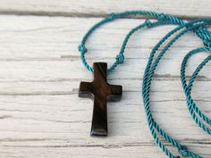 Wooden Cross Necklace  Striped Ebony by TheLotusShop, $16.95