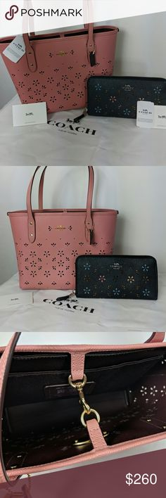 402fe509ff81 BNWT Coach Mini City Tote   Wallet BNWT Coach Mini City Tote in Vintage  Pink and matching wallet in Silver Midnight. Laser cut floral design.