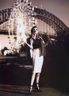 From vintagevogue Instagram: 'Spring Carnival Time' at Sydney's Luna Park. Initially published in Vogue Australia, August 1992