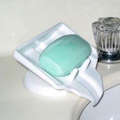 Bath Soap Saver Dish Waterfall Drain, Stop Mushy Soap, Dry Clean Soap Bar Holder