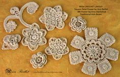 Irish Crochet Motif – Square Petal Flower by Ann Reillet I created this motif for theRavelry, Irish Crochet Lovers Group, Feb. CAL (crochet along) project. Material • Aunt Lydia's Fine…