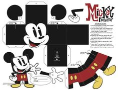 Papertoys Mickey Mouse (x Mickey Mouse Outline, Mickey Mouse Toys, 3d Paper Crafts, Diy Paper, Paper Art, Cardboard Toys, Paper Toys, Disney Diy, Disney Crafts