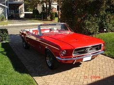 cherry red vintage convertible mustang
