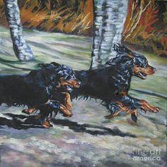 Gordon Setter Painting - gordon Setter Autumn run by Lee Ann Shepard