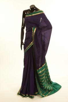 Mysore Crepe- crepe navy blue saree with blouse