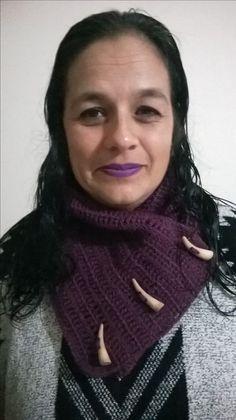 Cuello en crochet tejido con lana