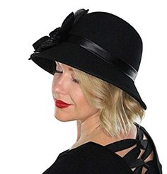 Delia Wool Bucket Hat Vintage Cloche Flapper Tea Party Derby Church with Flower (Black) at Amazon Women's Clothing store: