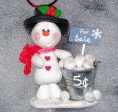 pictures+of+polymer+clay+snowmen | Snowballs for Sale Polymer Clay Snowman Christmas by TheKookyKoala