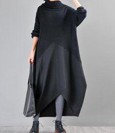 Women s longsleeve Dresses, Knit stitching Summer Dresses For Women, Winter Dresses, High Collar Dress, Sales Girl, Fashion 2020, Women's Fashion, Fashion Outfits, Gown Photos, Longsleeve