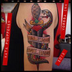 https://www.facebook.com/VorssaInk, http://tattoosbykata.blogspot.fi, #tattoo #tatuointi #katapuupponen #vorssaink #forssa #finland #traditionaltattoo #sailorjerry #snake #dagger #oldschool