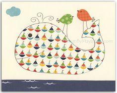 Nursery Decor, Art for Kids Room, Nursery wall art, Baby room print..sea..Whale, match to the colors of baby boats nursery bedding. $17.00, via Etsy.