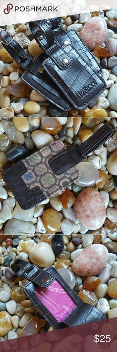 Liz&co Luggage Tag  (1) -Liz&co Luggage tags, dark chocolate brown Croc embossed leather and multi color canvas fabric materials.  Loop w/buckle attachment and ID window with snap closures. 1x use. Perfect condition.  3 availble. THIS LISTING IS FOR 1. Liz&co Accessories Key & Card Holders