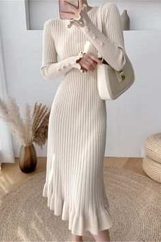 Classy Outfits, Stylish Outfits, Cool Outfits, Korean Fashion Dress, Modest Fashion, Dinner Wear, Fashion Capsule, Knit Sweater Dress, Winter Fashion Outfits