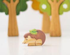Hedgehog wooden figurine Wild animals set Waldorf nature table Wooden toys Handmade Birthday gift