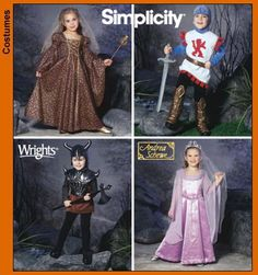 NEW Simplicity Pattern 5520 Size A (3 to 8 yrs) Toddler and Child, Medieval Princess, Queen, Knight in Shining Armor, and Warrior Costumes