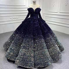 sparkly ball gown prom dresses gradient navy blue vintage luxury real photo prom gowns sweet 16 dresses Sweet 15 Dresses, Elegant Dresses, Cute Dresses, Vintage Dresses, Beautiful Dresses, Long Sleeve Quinceanera Dresses, Homecoming Dresses, Makeup With Purple Dress, Debut Gowns