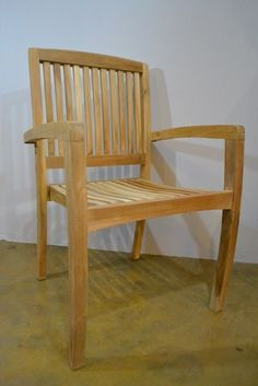 Solid Teak Wood Outdoor Stackable Chair with Arms