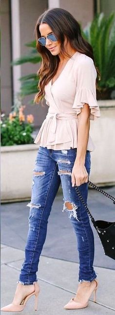 Look Good Casual Chic Spring Outfits 34 Moda Outfits, Chic Outfits, Fashion Outfits, Fashion Ideas, Fashion Trends, Fashion Moda, Look Fashion, Womens Fashion, Feminine Fashion