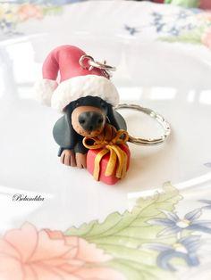 Christmas dachshund keychainsanta clauspolymer clay