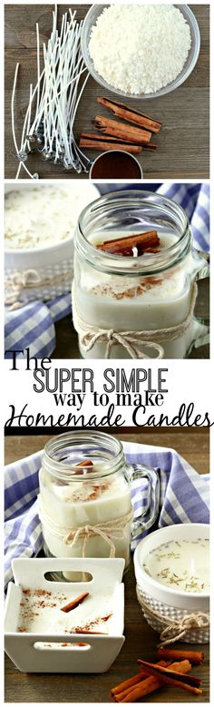 To Make Homemade Candles - Life a Little Brighter Homemade Candles, the easy way. Awesome DIY tutorial for gift ideas or soy candles good for allergies.Homemade Candles, the easy way. Awesome DIY tutorial for gift ideas or soy candles good for allergies. Mason Jar Candles, Mason Jar Crafts, Pillar Candles, Homemade Christmas, Diy Christmas Gifts, Christmas Music, Christmas Projects, Holiday Crafts, Diy Cadeau Noel