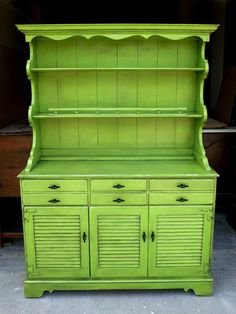 Maple Hutch in distressed Lime Green with Black Glaze, on Facelift Furniture  http://faceliftfurniture.com/gallery/upstyled-furniture/#sg19