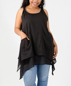 This Black Layered Handkerchief Tank - Plus by Immediate Resource is perfect! #zulilyfinds