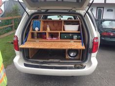 Quickly and easily turns your mini van into a comfortable and function adventure vehicle. Just remove the seats, slide it in and your ready to go.  The kitchen at the back holds all your cooking need