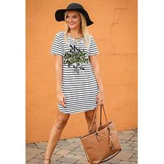 Ladies Black & White Striped Dress.