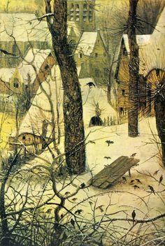 Peter Bruegel - Winter Landscape with Bird Snare (detail), 1565