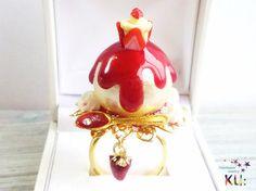 BIG! とろり苺コットンパール指輪◆カップイチゴケーキ◆