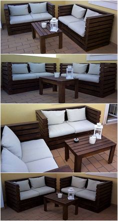 diy pallet furniture Here, have a look at this uniquely created pallet outdoor couch set. This seating furniture set with the placement of white color mattress and cushions appears stunning as well as comfortable to place Palette Furniture, Pallet Furniture Designs, Pallet Garden Furniture, Outdoor Furniture Plans, Diy Furniture Couch, Patio Furniture Sets, Wooden Furniture, Luxury Furniture, Furniture Ideas