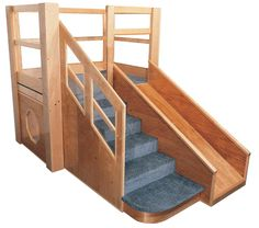 Image of Strictly for Kids Deluxe Adventurer 5 Toddler Loft with extra deep toddler steps, handrail and slide, privacy space below. Beautifully crafted of Solid Maple, Baltic Birch plywood and indestructible Lexan windows