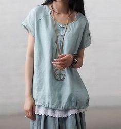 Balanced Collar Linen Tunic-zeniche.com SKU ba0157